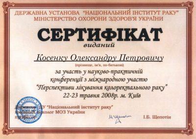 Сертификат Александра Косенко. Перспективы лечения колоректальных тканей 2008 год