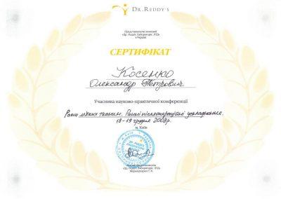 Сертификат Александра Косенко. Раны мягких тканей 2008 год