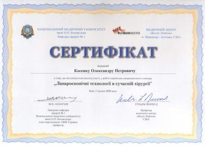 Сертификат Александра Косенко. Лапароскопические технологии в современной хирургии 2009 год