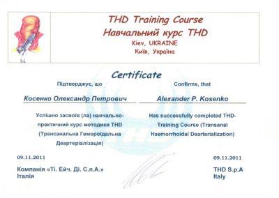 Сертификат Александра Косенко. Курс трансанальной гемороидальной деартериализации 2011 год