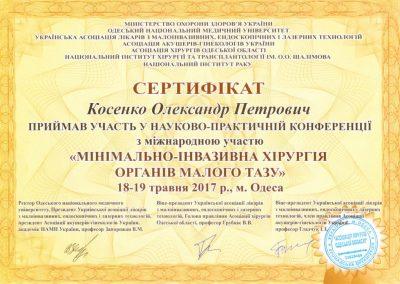 Сертификат Александра Косенко. Минимально-инвазивная хирургия органов малого таза 2017 год