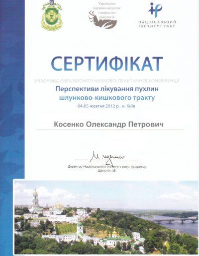 Сертификат Александра Косенко. Перспективы лечения опухолей ЖКТ 2012 год