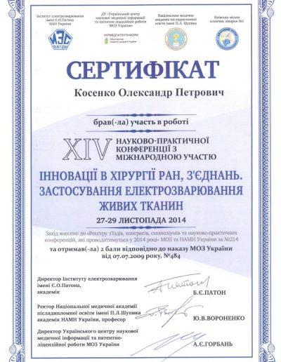 Сертификат Александра Косенко. Инновации в хирургии ран и связок Применение электросварки тканей 2014 год