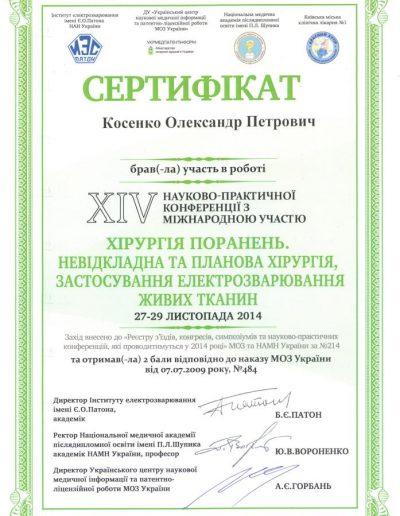 Сертификат Александра Косенко. Хирургия ранений. Применение электросварки тканей 2014 год
